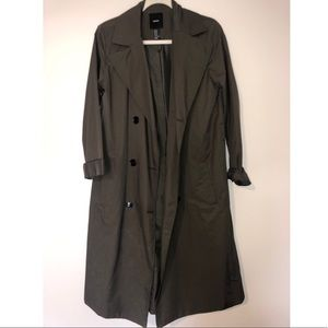 FOREVER 21 LONG TRENCH COAT GREEN/OLIVE NEVER WORN